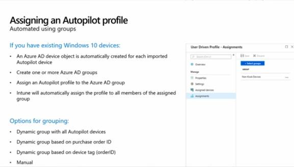Assiging an Autopilot profile using groups