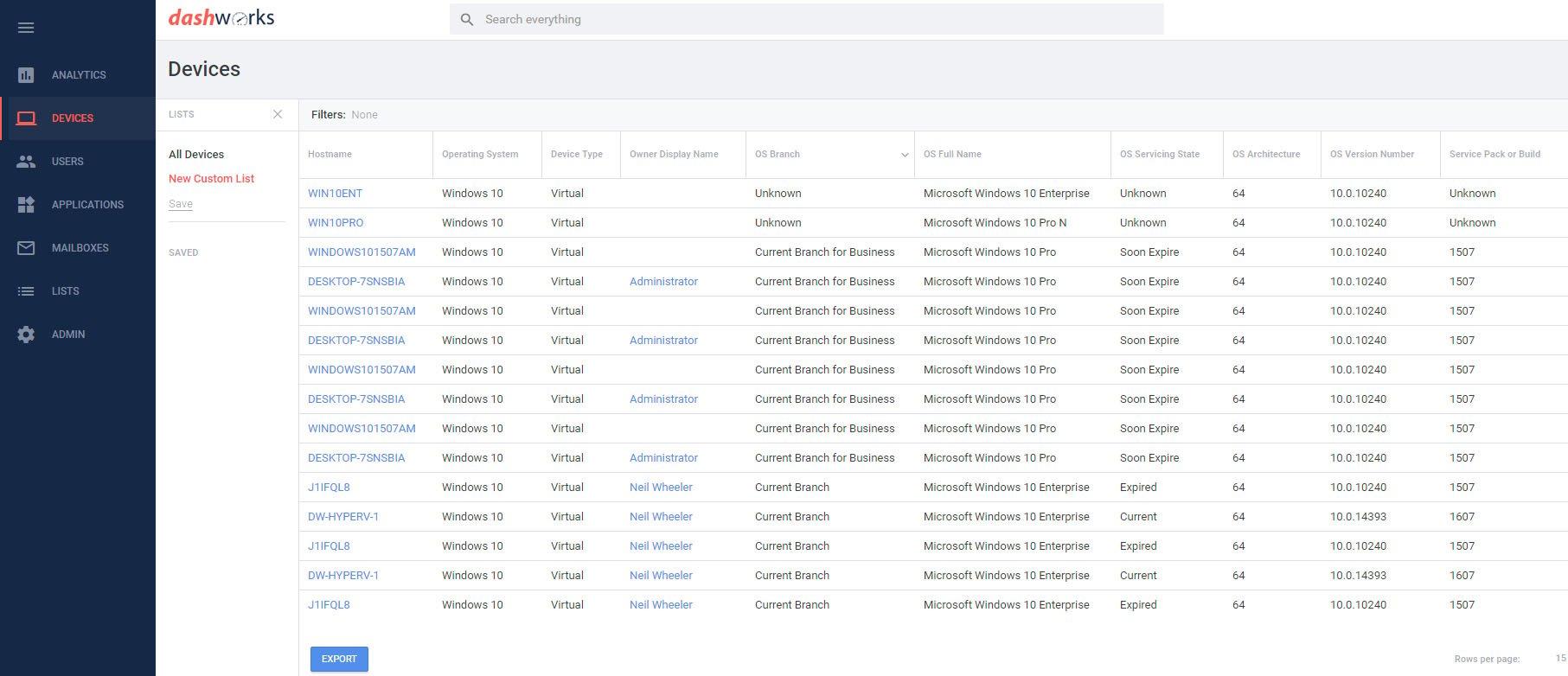 Dashworks - Windows 10 Branch Information (Blog Screenshot I)-1