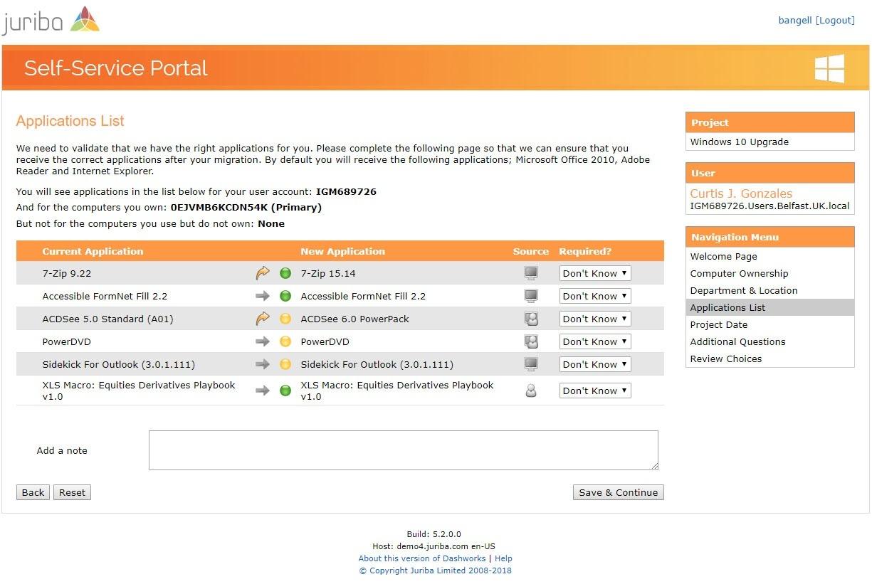 Self-Service Portal Application List Verification