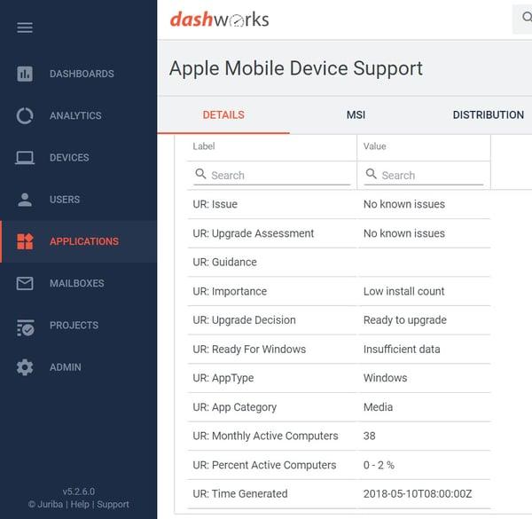 Dashworks - Windows Analytics Upgrade Readiness Connector - Application Information