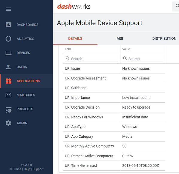 Dashworks - Windows Analytics Upgrade Readiness Connector - Application Information