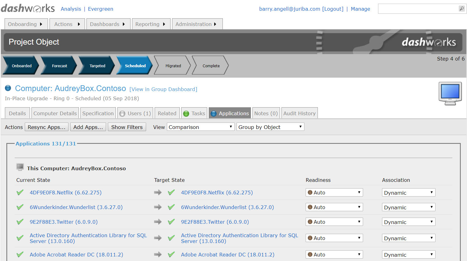 Dashworks - Windows Analytics Upgrade Readiness Connector - Application Project Readiness