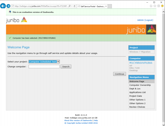 welcome page of Juriba's IT Migration tool, Dashworks