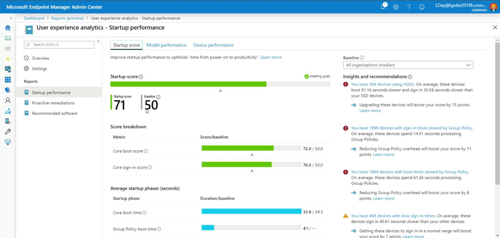 MicrosoftEndpointManagerScreenshotExperienceScore